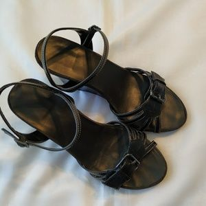 A2 By Aerosoles Shoes - A2 by Aerosoles Black Wedge 7 Heel Sandal Shoes